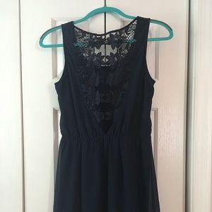 Versatile Navy Open-Back Dress